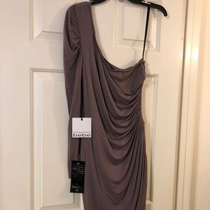 NWT Bebe one shoulder dress with side opening LG
